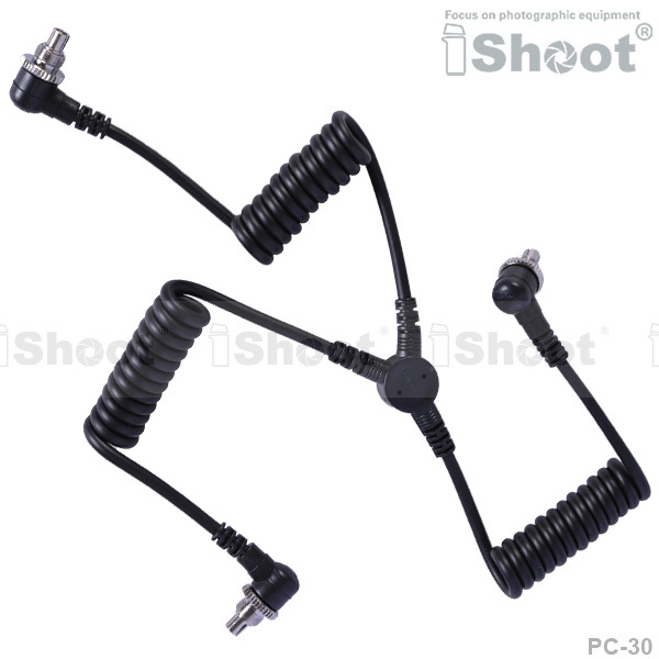 Male to Male 3 plug PC SYNC Cord Flash Cable for Canon 1D