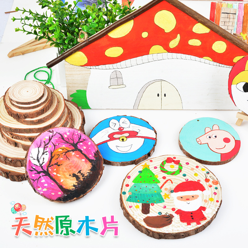 DIY Hand-painted Wood Decoration Kindergarten Graffiti Children Wood Acrylic Wood Painting Wood Painting Kids Crafts And Arts