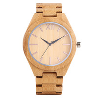Concise Men Women Bamboo Watch Rose Gold Color Changeable Needle Roman Number Dial Casual Simple Wood Wristwatch Business Clock