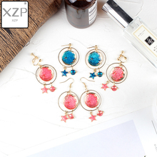 XZP Fashion Blue Pink Star Moon Clip on Earrings For Women Gold Color Universe Planet Circle Without Piercing Long
