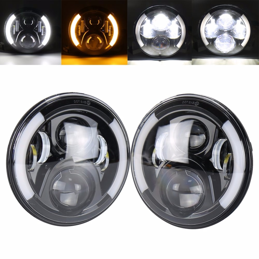 7 Round LED Headlights Bulb White DRL / Amber Turn signal For Jeep Wrangler JK TJ LJ Hummer H1 H2 LED Projector DRL Headlamp blue projector lens 130w 7 inch led headlights for jeep wrangler jk lj jku 7inch led headlight with white drl amber signal