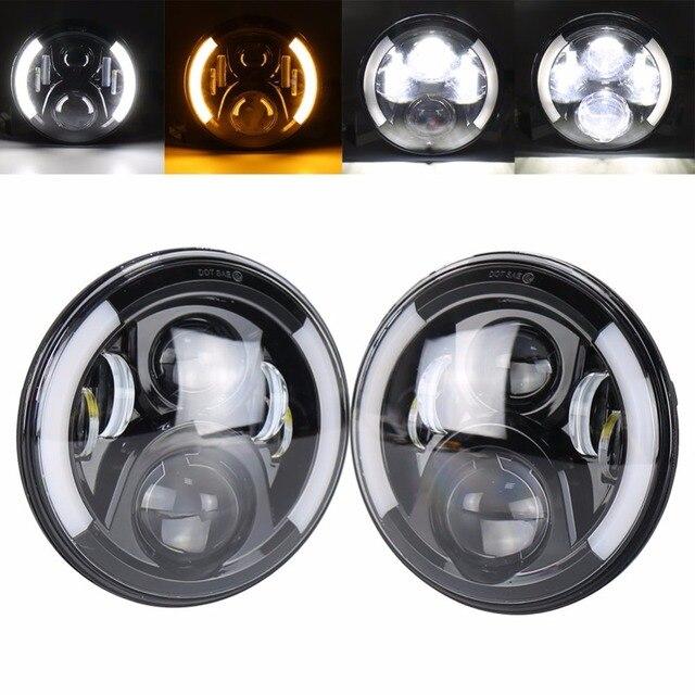 Round Led Headlights Bulb White Drl Amber Turn Signal For Jeep Wrangler Jk Tj Lj Jpg X