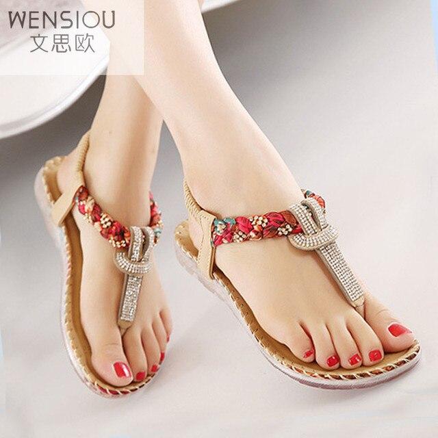 de650b35c Verão Mulheres Sandália Gladiador Sapatos Sandálias Boemia das Mulheres  Flip Flops Sandalias Mujer Senhoras Sapato Moda