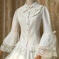 Primavera/verano 2017 nuevo algodón de seda lolita blusa blanca de las mujeres camisa larga de encaje lolita manga flare envío libre