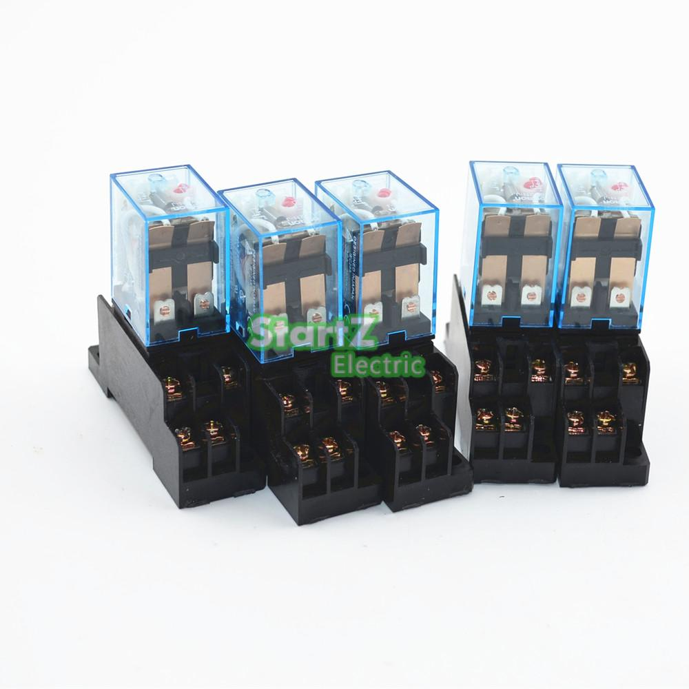 5Pcs Relay  LY2NJ 220/240V AC Small relay 10A 8PIN Coil DPDT With  Socket Base цена и фото