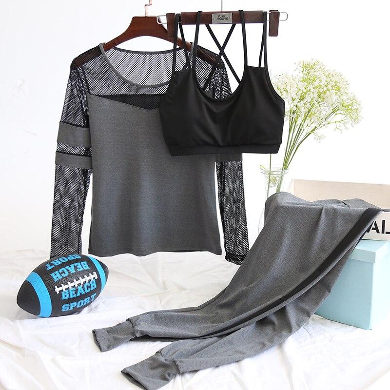 2018 New 3 Pieces Women Yoga Set Sports Bra Mesh Long Sleeve Shirts Pants Sportswear Fitness Gym Clothing Breathable Sport Suit все цены