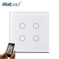 New Arrival 4 Gang Wifi Switch Wallpad White Tempered Glass UK EU Standard 4 Gang Wifi Phone App Wireless Control Light Switch