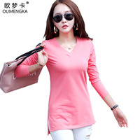OUMENGKA 4 Color S 2XL Plain T Shirt Women Cotton Elastic Basic Long T Shirts Female