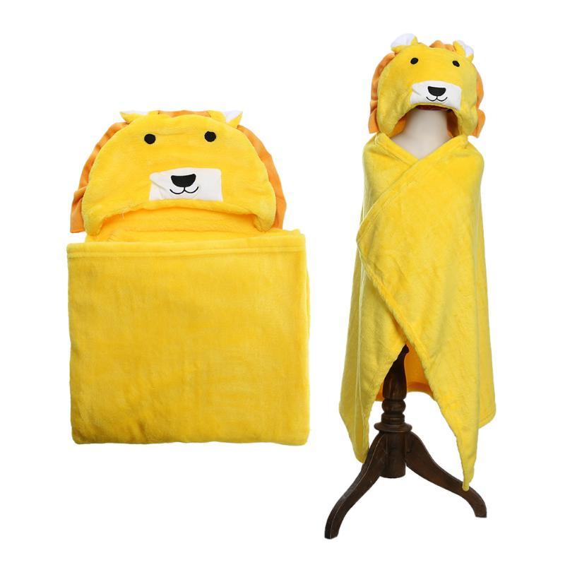 Baby Bath Towel Lion Animal Shape Flannel Cartoon Hooded Bath Towel Babies Blanket Kids Hooded Bathrobe Toddler Baby Bath Towel