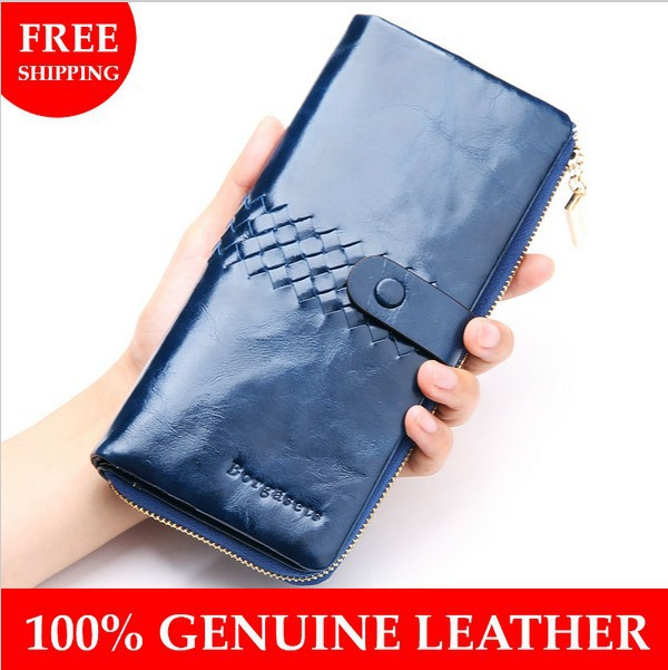 100% Genuine Leather Clutch bag fashion purse Wholesale Women Long patent leather Wallets weaving womens wallet card holder
