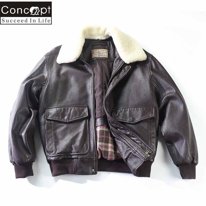 a0fa7e218ed ... Avirex Fly Air Force Flight Jacket Fur Collar Genuine Leather Jacket Men  G1 Winter Coat Bomber
