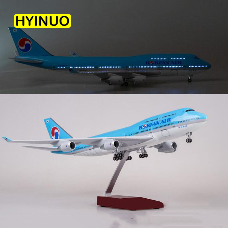 1/150 Scale 47CM Airplane Boeing B747 Aircraft Korean International Airline Model W Light and Wheel Diecast Plastic Resin Plane-in Diecasts & Toy Vehicles from Toys & Hobbies    2