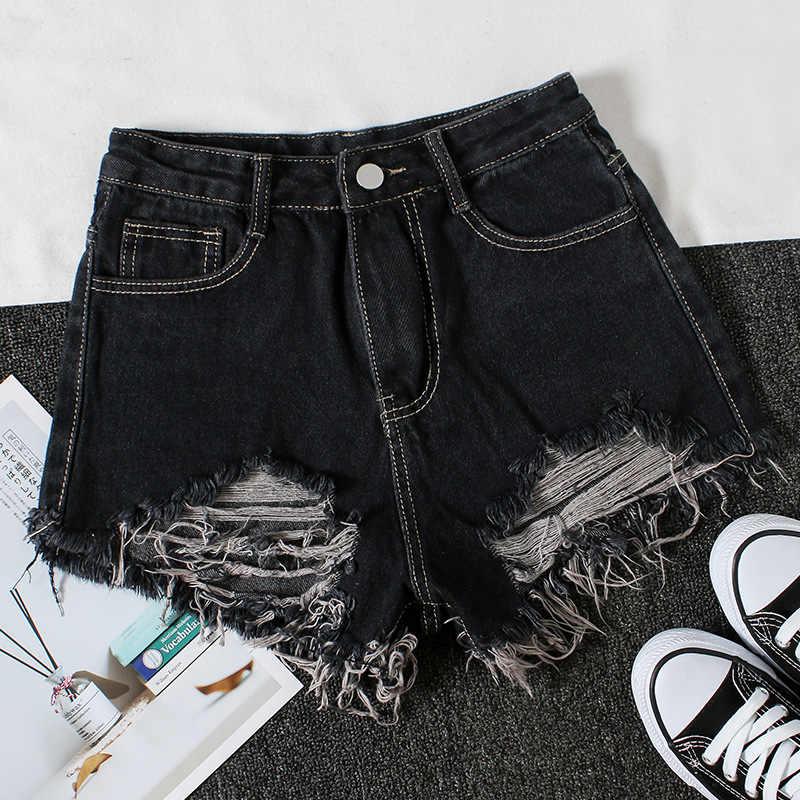 2019 Summer Womens Ripped Hole Slim High Waist Denim Shorts Female New Raw Edge Black Jeans Wild Fashion Mini Cowboy Shorts D351