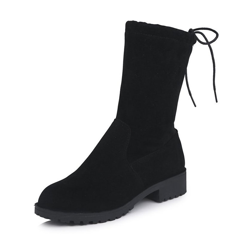 COZULMA Women Autumn Winter Flock Mid-calf Boots Shoes Female Sewing Low Heels Fashion Plus Size 35-43