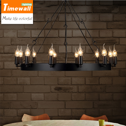 American Country Retro Industrial Loft Restaurant 12 Head Round Table Candle Chandelier Chandelier Samurai Iron Ring