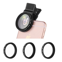 ZOMEi 37mm Easy Clip on Smart Phone Camera Star Cross Twinkle Filters 4 Points + 6 Points and 8 Points for iPhone Samsung