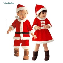 Baby Boys Girls Christmas Costume Kids Clothes With Hat Girl Tutu Dress Newborn Clothes Long Sleeve Children Infant Clothing недорого