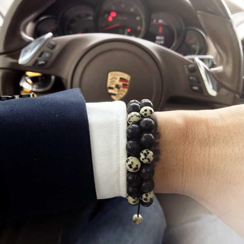 Mcilroy 8mm tygrysie oko kamień bransoletka mężczyźni koraliki podwójne wiersz 7 Chakra OM joga modlitwa pleciona bransoletka męskie bransoletki 2018 pulsera