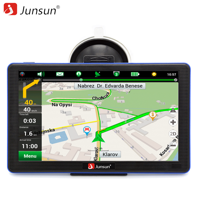 Junsun 7 inch GPS Navigation Windous CE 6.0 FM 8GB Car navigator Capacitive Screen Sat Nav Russian Free Map Update beling g710a car gps navigation with av in 7 in touch screen wince 6 0 8gb vehicle navigator fm sat map mp4 sat nav automobiles