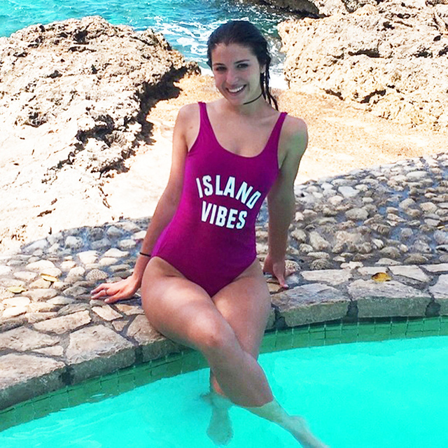 new styles ed62e affa5 US $13.79 31% OFF|INSEL VIBES Bademode Frauen Sexy badeanzug Ein stück  Brief Badeanzüge Bodys Niedrigen zurück Drucken Strand tragen Blau lila in  ...