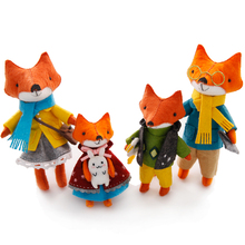2PCS/SET Lovely Fox Families Felt DIY Doll Handmade Sewing Cloth Craft Toys for Children Gift Home Decoration Package