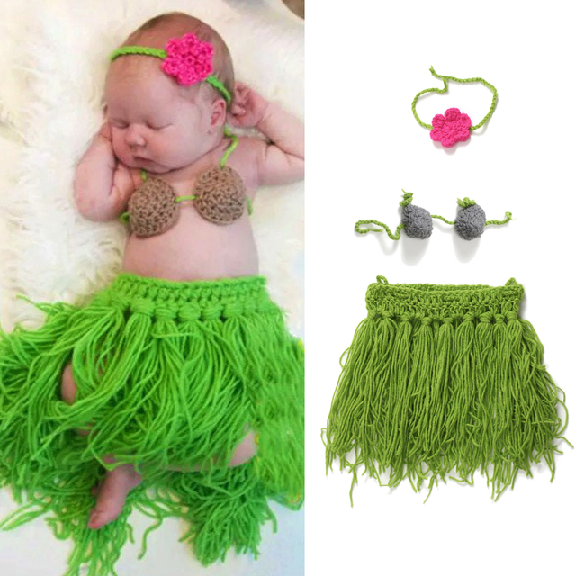 f6f53c6e26bc8 Handmade Crochet Baby Girls Princess Hawaiian Outfit Cosplay Photography  Prop Hula Grass Skrit Coconut Top & Headband Set