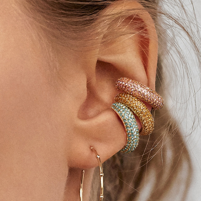 wing yuk tak Mini Clip On Earrings For Women 2019 Fashion Korean Colorful Rhinestone Cuff