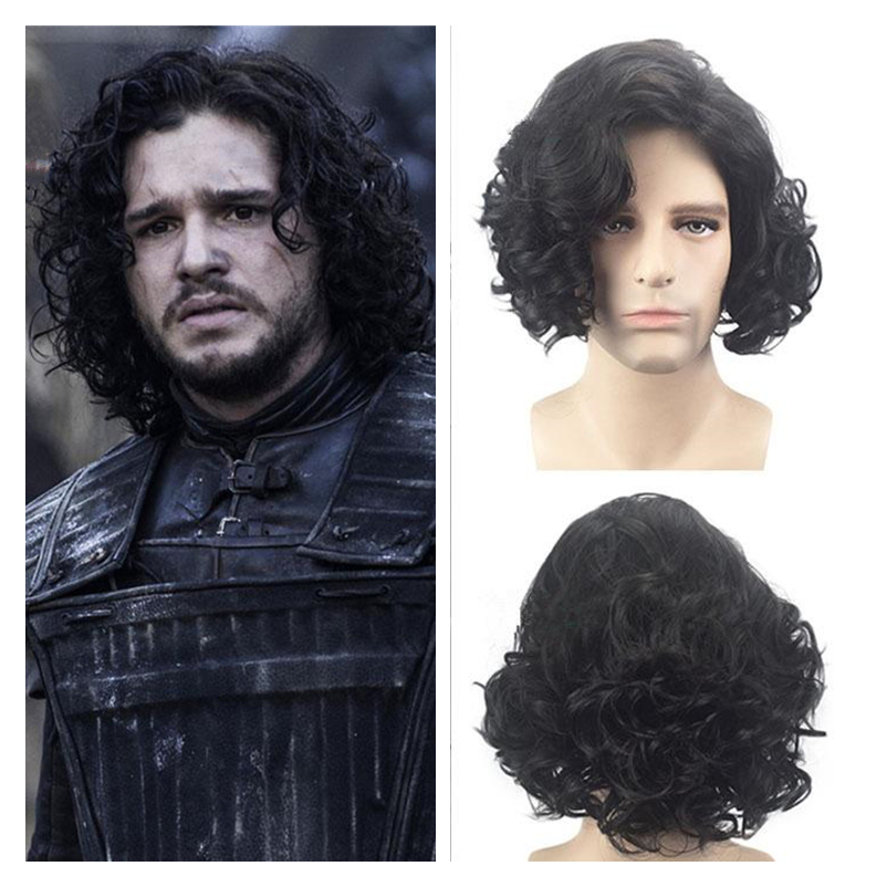 2019 New Game of Thrones Jon Snow Cosplay Wig A Song of Ice and Fire Night's Watch Women Men Black Short Fluffy Hair Wigs Props