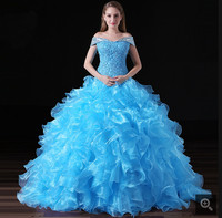 2020 New arrival blue ball gown organza ruffled prom dress crystals cap sleeve princess quinceanera gowns corset prom gowns