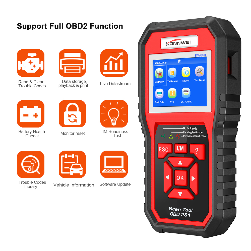 OBD2 ODB2 Scanner Auto Scanner De Diagnóstico KONNWEI KW850 Full Função de Diagnóstico Do Carro Do Scanner Carro Universal OBD Leitor de Código de Motor