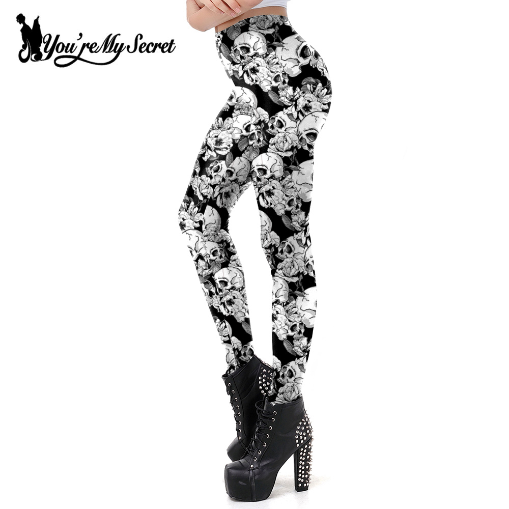[You're My Secret] New Gothic White Skull Printing   Leggings   Fitness Sexy Slim Mid Waist Pants Floral Women's Leggins Trousers