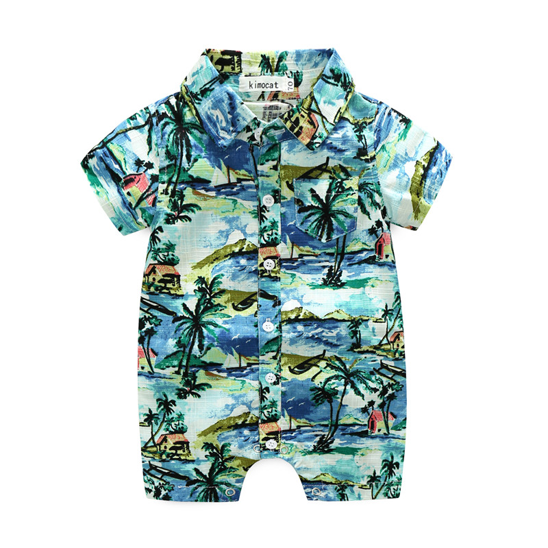 цена на 2018 Summer Style Baby Rompers Newborn Baby Boy Girl Clothes Infant Clothing Blue And Red Short Sleeve Cartoon Printing Jumpsuit