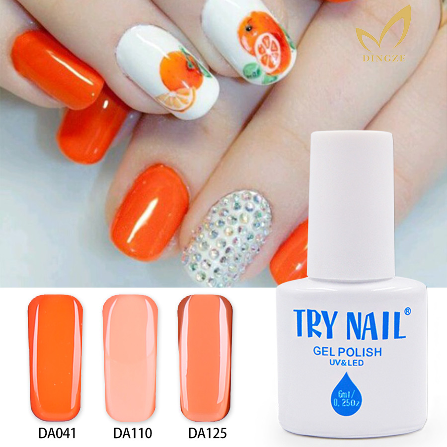 TRY NAIL Free Shipping Three Steps Orange Red Fashion