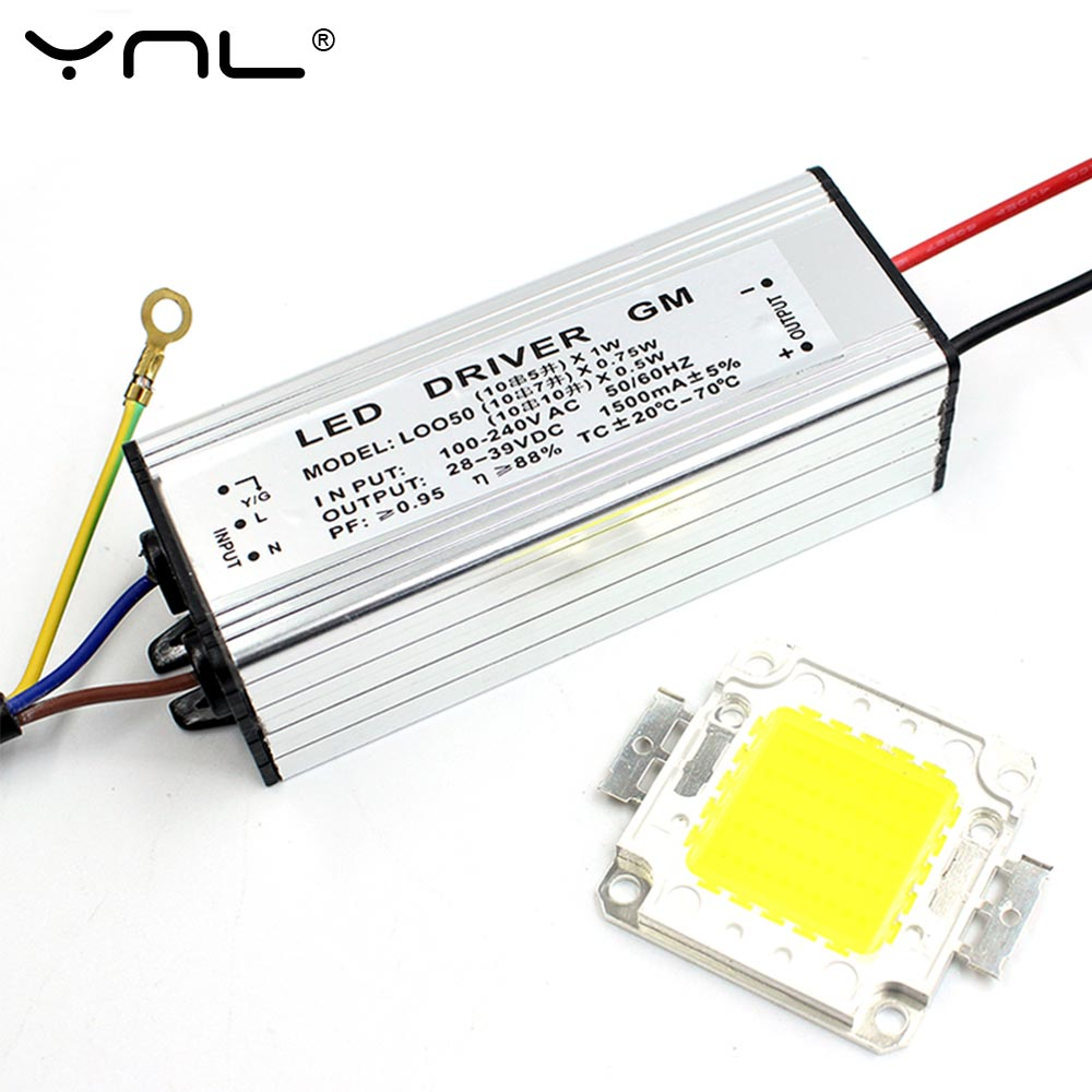 Real Watt LED Chip 10W 20W 30W 50W High Power COB LED Lamp Chip & LED Power Supply Driver 1Set For LED Flood light 56w led driver dc45 55v 1 2a high power led driver for flood light street light constant current drive power supply ip65