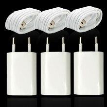 3 대/몫 EU 플러그 벽 AC USB 충전기 아이폰 8 핀 USB 충전 케이블 + 여행 충전기 어댑터 애플 아이폰 5 5S 6 6S 7
