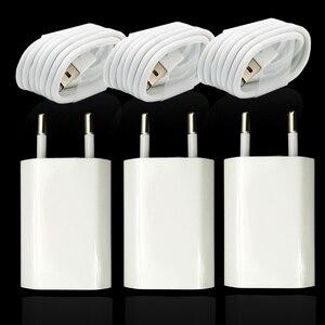 Image 1 - 3 takım/grup ab tak duvar AC şarj cihazı için USB şarj cihazı iPhone 8 Pin USB şarj kablosu + seyahat şarj adaptörü apple iPhone 5 5S 6 6S 7