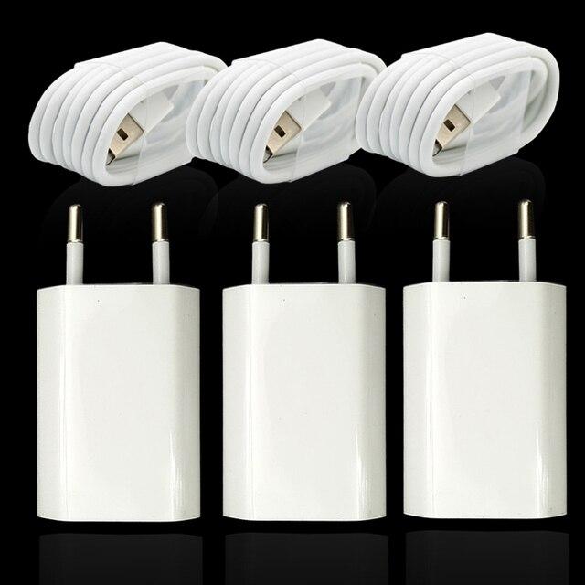 3 takım/grup ab tak duvar AC şarj cihazı için USB şarj cihazı iPhone 8 Pin USB şarj kablosu + seyahat şarj adaptörü apple iPhone 5 5S 6 6S 7