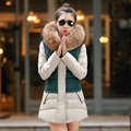 2016 winter new fashion slim medium long size hooded fur collar long sleeve keep warm solid color women down coat