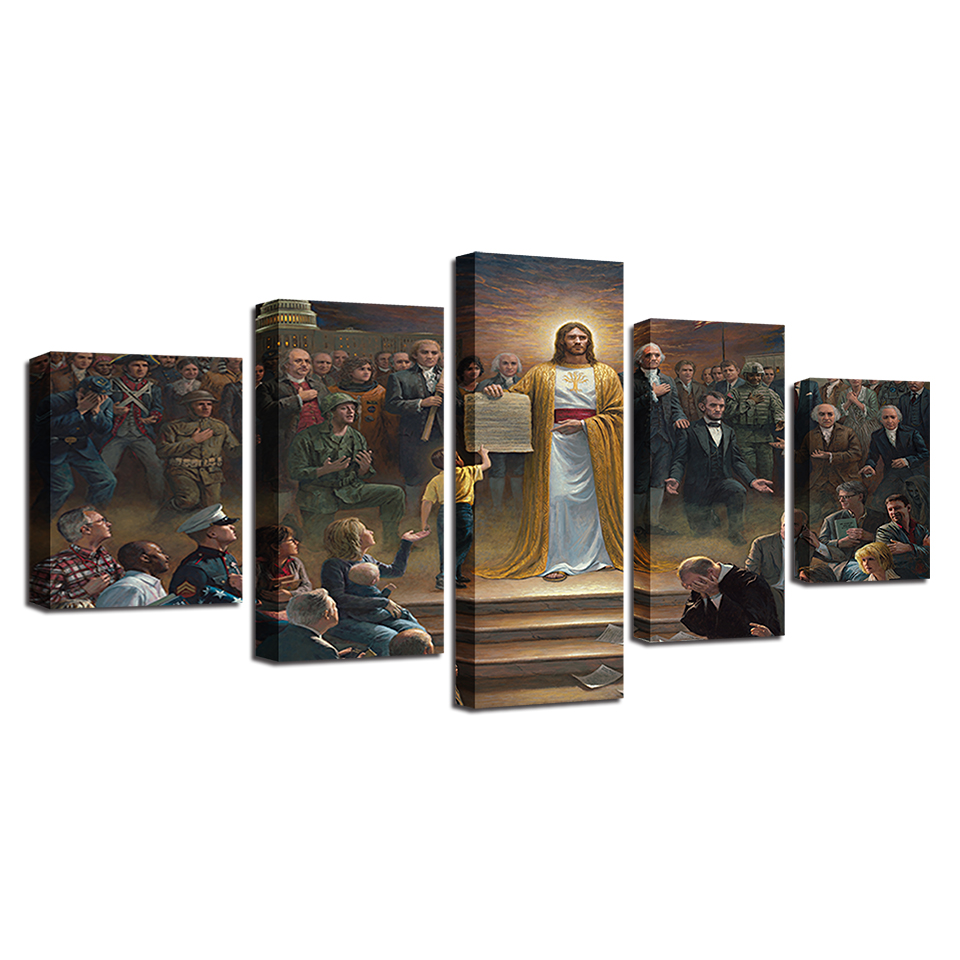 modern frames 5 panel jesus canvas art. Black Bedroom Furniture Sets. Home Design Ideas