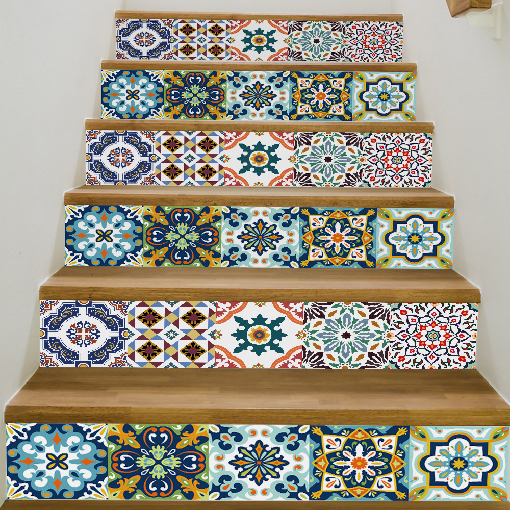2019 New Waterproof Floor Stickers Mediterranean Style Stairs Corridor New Creative Home Decoration Supply Free Shipping