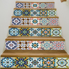 2019 New Waterproof Floor Stickers Mediterranean Style Stairs Corridor Creative Home Decoration Supply Free Shipping