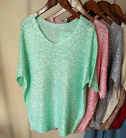 Cakucool Sequined Knit Top Shirts Summer Women Short Sleeve Tee Beaded V Neck Casual Loose Hollow