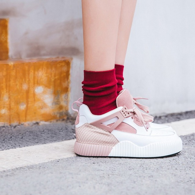 a1fa2b882e6fb INS Street Style Women Sneakers 2018 New Genuine Leather Platform Sneakers  Women Spring Summer White Shoes