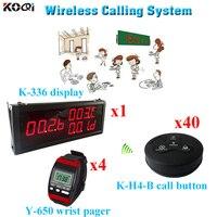 레스토랑 서비스 벨 및 시계 통신 시스템 (1 디스플레이 4 손목 시계 40 통화 버튼)