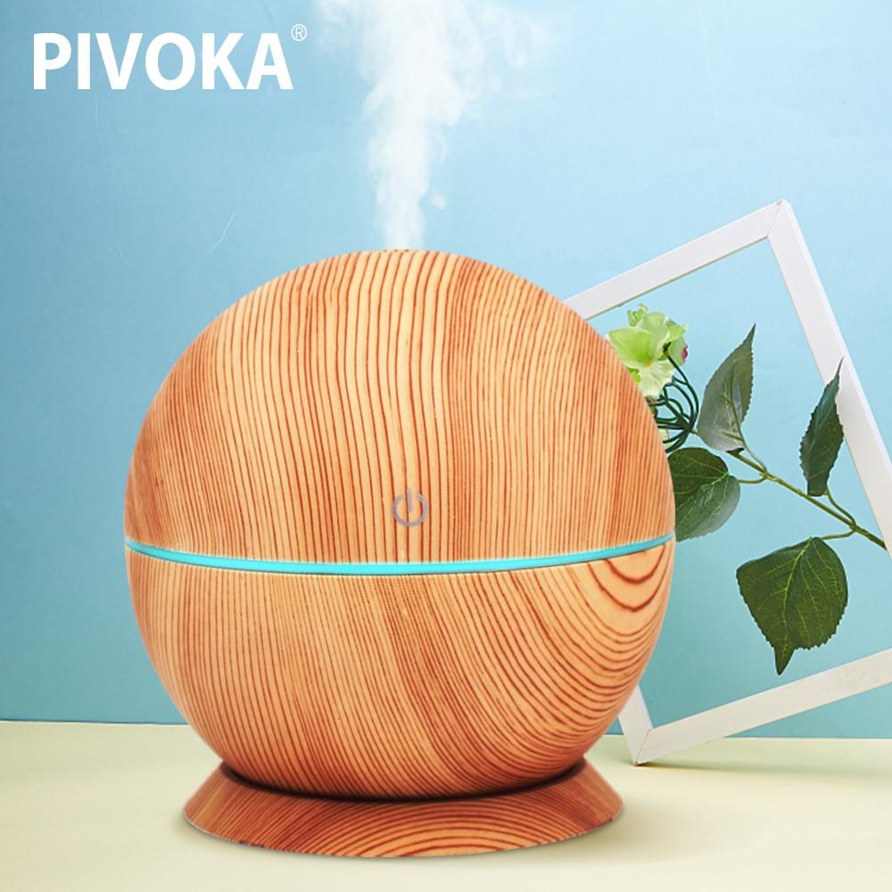 PIVOKA Classic Round Air Humidifier Ultrasonic Wood Grain Aroma Diffuser Variety Led Night Light Aromatherapy flannel skidproof wood grain print rug