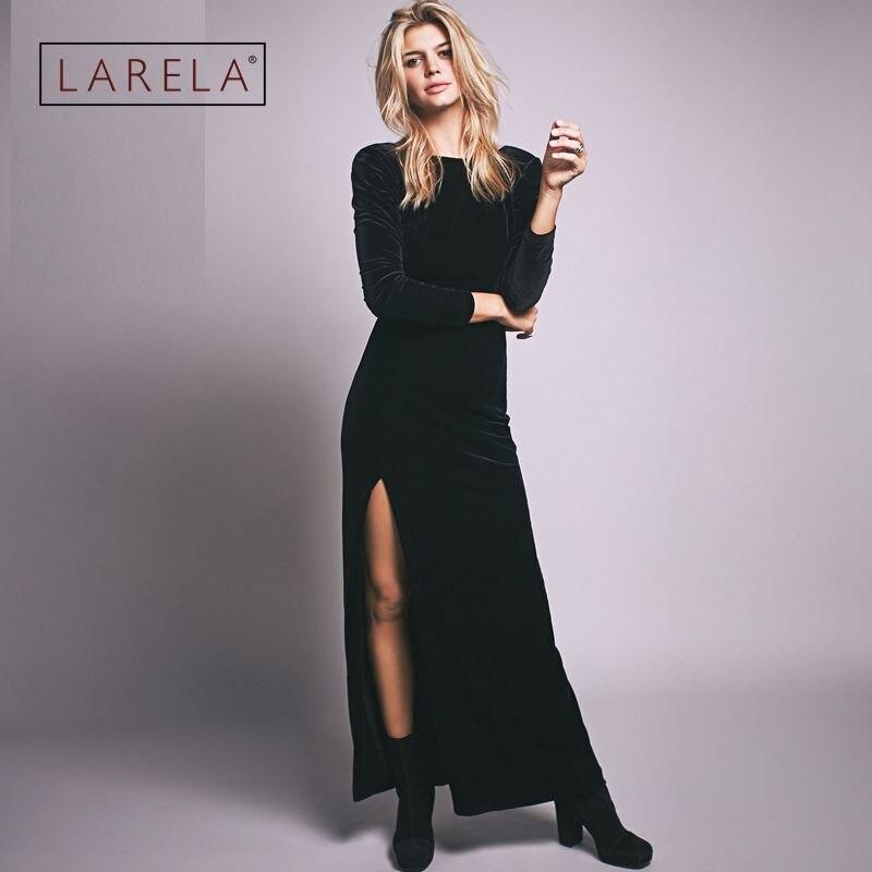 2016 Women Plus Size Velvet Dress Backless Black Long -2146