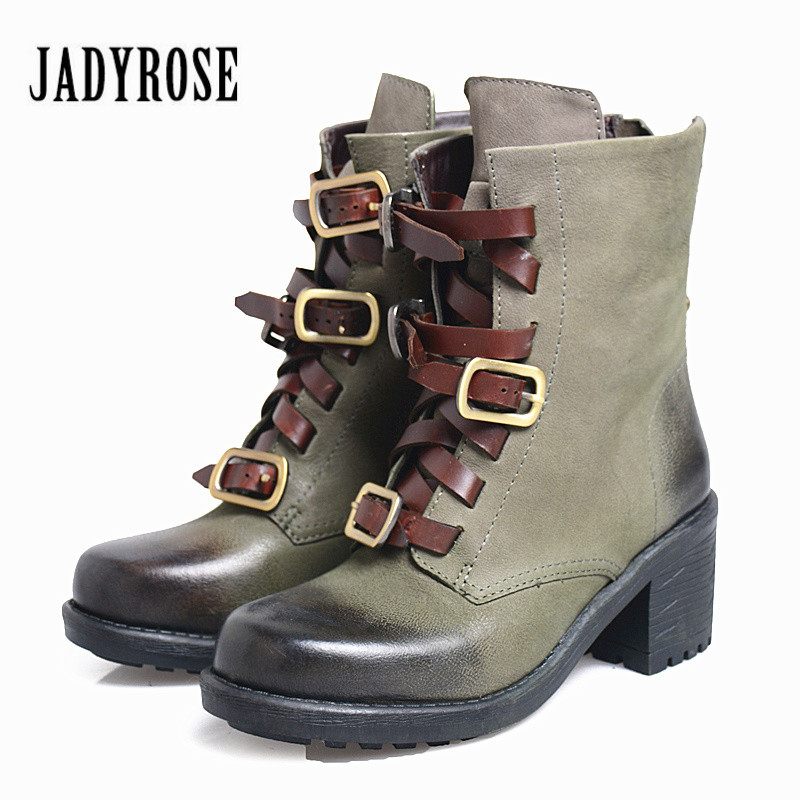 Jady Rose Punk Style Green Ankle Boots for Women Chunky High Heel Martin Boots Straps Buckle Botas Mujer Genuine Leather Shoes cuddlyiipanda 2017 punk boots women black ankle boots motorcycle thin high heel double buckle punk platforms botas mujer