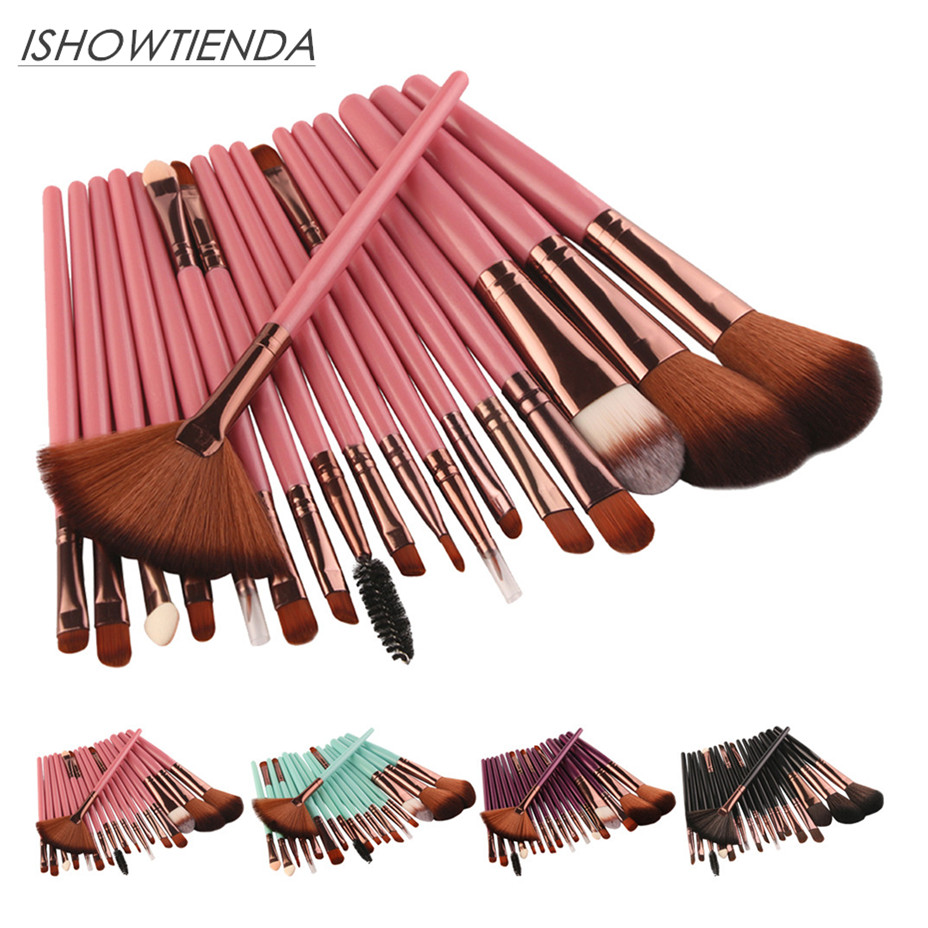 где купить ISHOWTIENDA 2018 18 pcs Makeup Brushes Set tools Make-up Toiletry Kit Wool Make Up Brush Set 15 Pincel maquiagem Dropshipping дешево