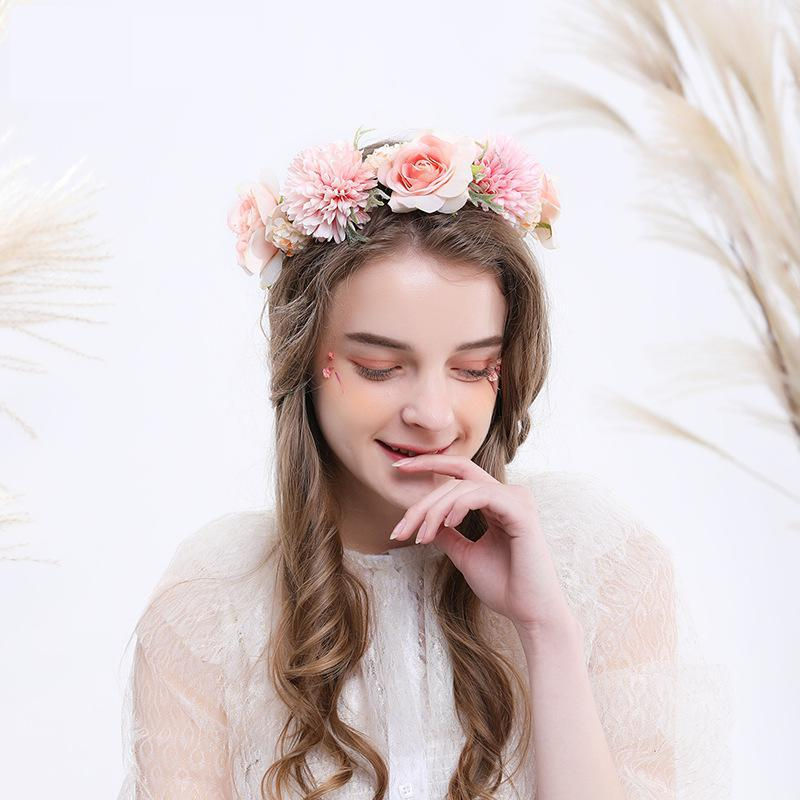 Bohemian Sweet Forest Rose Flower Bride Wreath Flower Girl Headdress Bridesmaid Romantic Headband Wedding Accessories Garlands