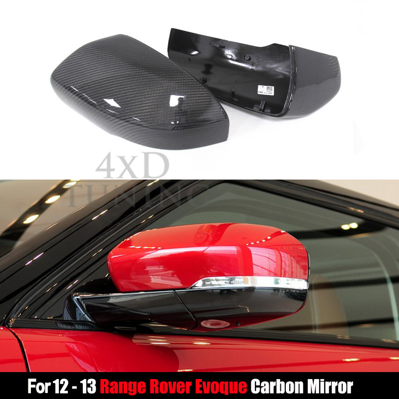 For Land Rover Range Rover Evoque Carbon Fiber Mirror Cover Rear View Side Mirror 2012 2013 Replacemetn Style & Add on Style